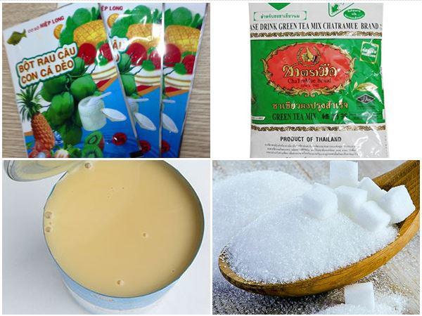 Nguyên liệu làm trà sữa thái xanh