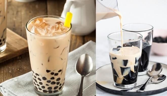 Pha trà sữa từ siro và thưởng thức