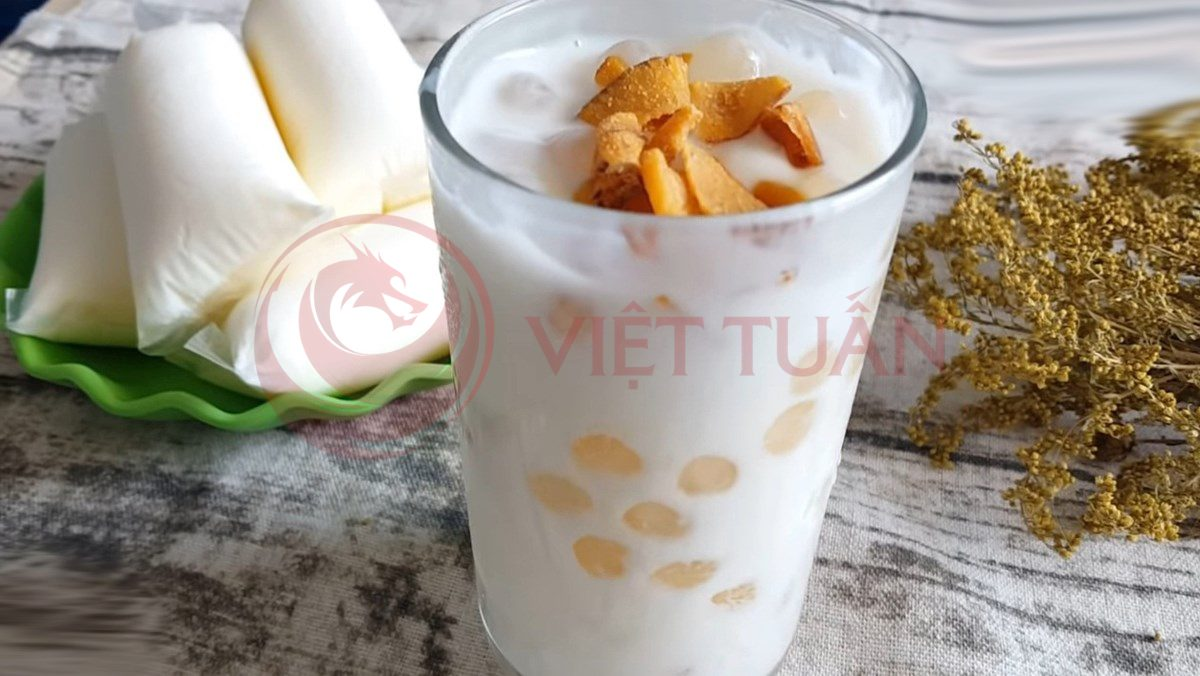 Trân châu nhân dừa kết hợp với sữa chua